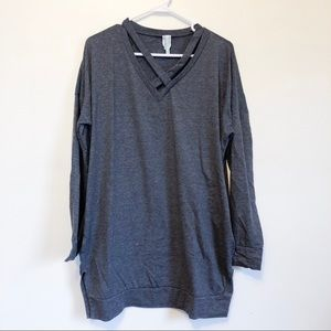 bellamie | grey criss cross v-neck grey tunic